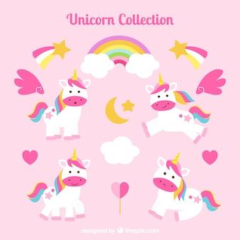 Coleção de unicórnios e corações com arco-íris