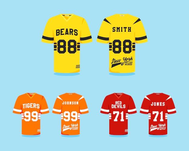Coleção de uniforme de futebol americano