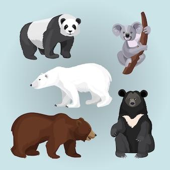 Coleção de ursos isolados em azul