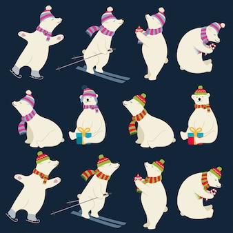 Coleção de ursos polares vestidos para desenhos de natal