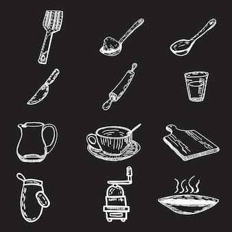 Coleção de utensílios de cozinha desenhada a mão