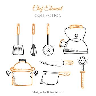 Coleção de utensílios de cozinha desenhados à mão