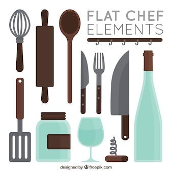 Coleção de utensílios de cozinha plana