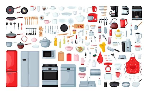 Coleção de utensílios de cozinha
