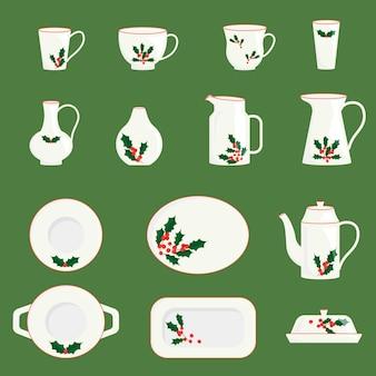 Coleção de utensílios de mesa de cerâmica de natal xícaras de pratos pratos jarras decoradas com visco