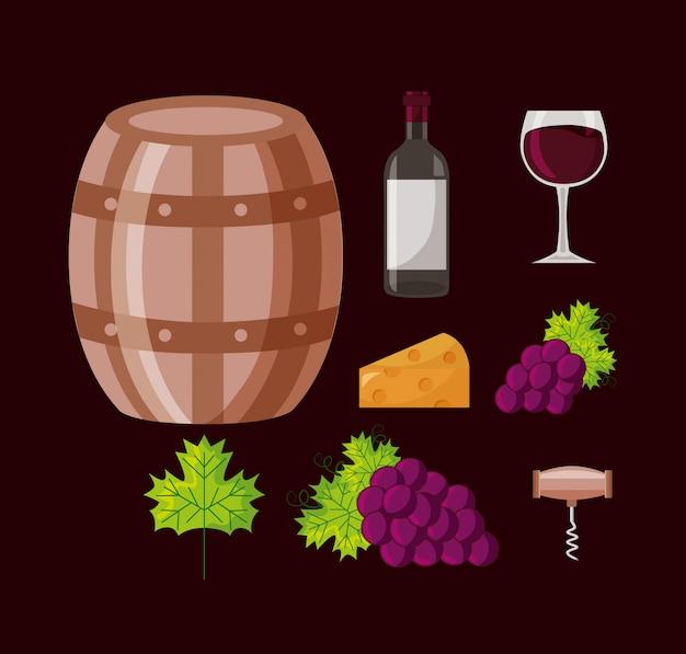 Coleção de uvas de barril de garrafa de vinho