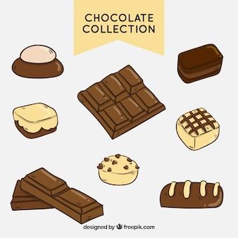 Coleção de várias barras de chocolate e pedaços de mão desenhada