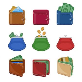 Coleção de várias bolsas abertas e fechadas e carteiras com dinheiro, dinheiro, moedas de ouro, cartões de crédito.