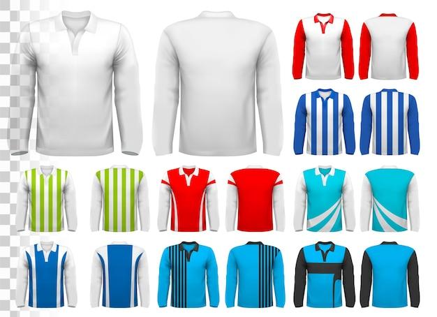 Coleção de várias camisas de futebol.