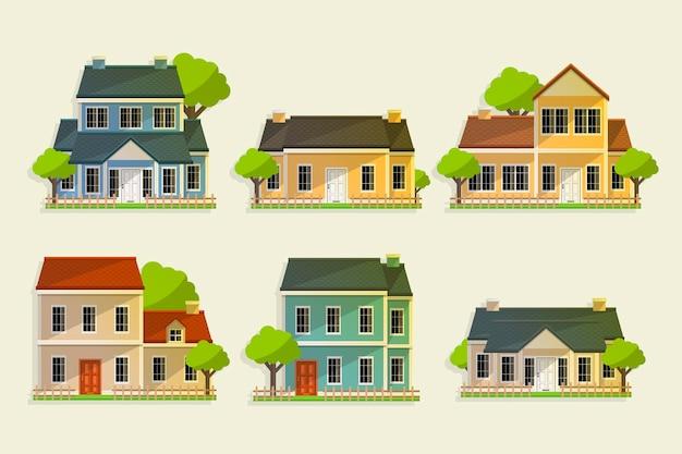 Coleção de várias casas com árvores