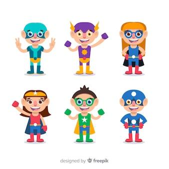 Coleção de várias crianças de super-herói