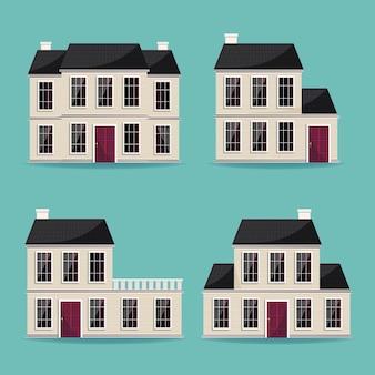 Coleção de várias grandes casas arquitetônicas
