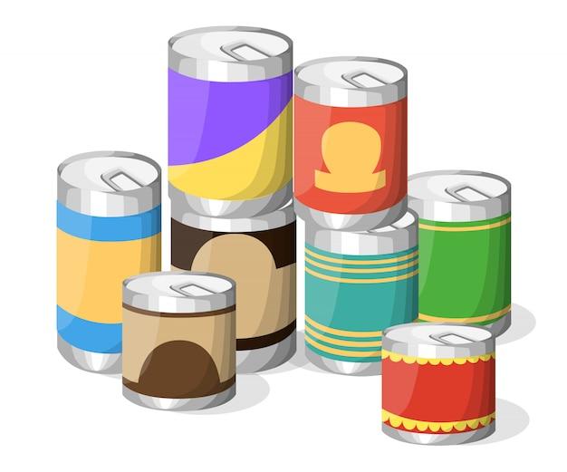 Coleção de várias latas de conservas de alimentos recipiente de metal, mercearia e armazenamento de produtos, etiqueta de alumínio em conserva de ilustração. página do site e elemento de aplicativo móvel.
