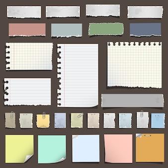 Coleção de várias notas de papel