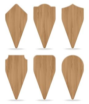 Coleção de várias placas de sinal de madeira de formas