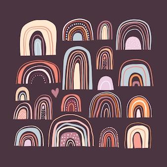 Coleção de vários arco-íris em fundo escuro