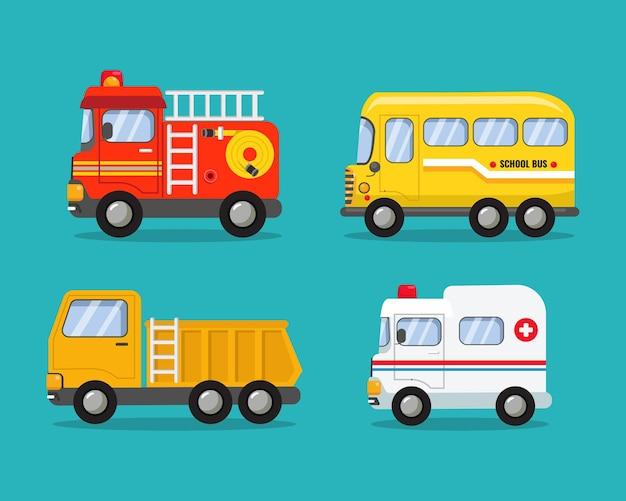 Coleção de vários carros bombeiro, ônibus escolar, caminhão basculante e clip-art de ambulância