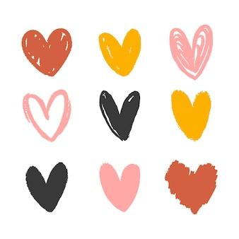 Coleção de vários corações desenhados à mão
