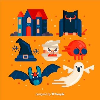 Coleção de vários elementos de halloween em design plano