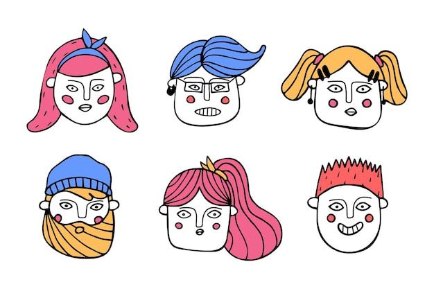 Coleção de vários rostos de desenhos animados