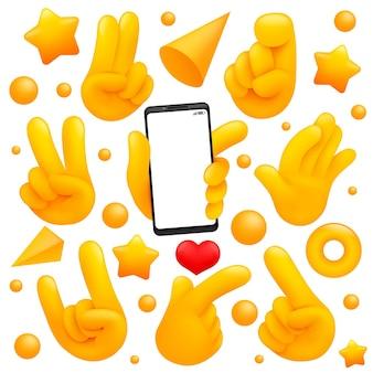 Coleção de vários símbolos de mão amarela emoji com smartphone, vitória, sinais de adeus e outros gestos. estilo de desenho 3d.