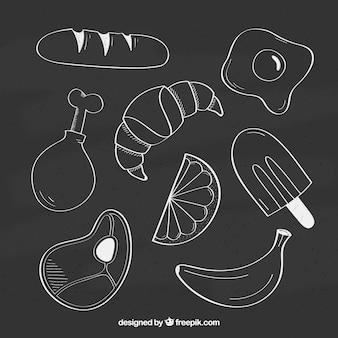 Coleção de vários tipos de alimentos no estilo do quadro-negro