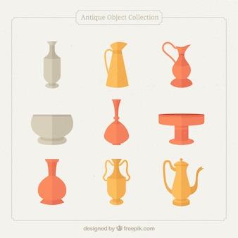 Coleção de vasos antigos em design plano