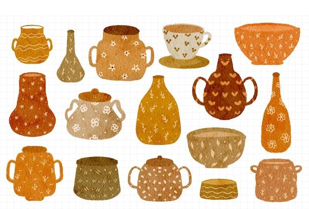 Coleção de vasos de flores bonitos em aquarela pintados à mão, ilustração com tema de outono