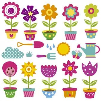Coleção de vasos de flores