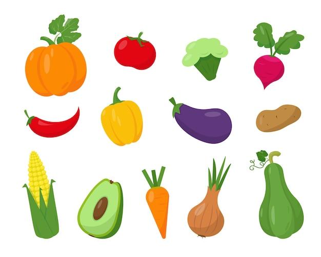 Coleção de vegetais brilhantes, isolados no fundo branco.