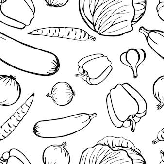 Coleção de vegetais de mão desenhada padrão sem emenda, elementos isolados. ilustração vetorial.