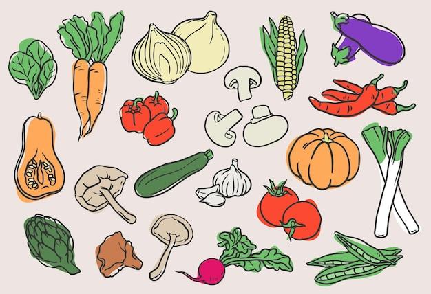 Coleção de vegetais desenhada à mão