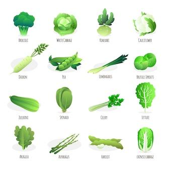 Coleção de vegetais verdes