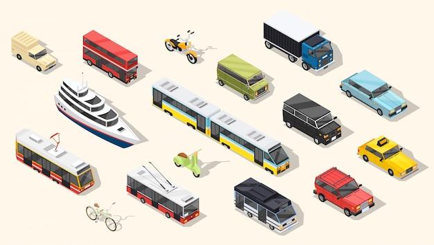 Coleção de veículos de transporte público