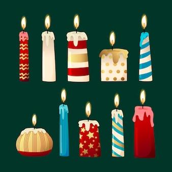 Coleção de vela de natal em design plano