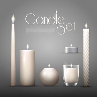 Coleção de velas aromáticas queimando realista