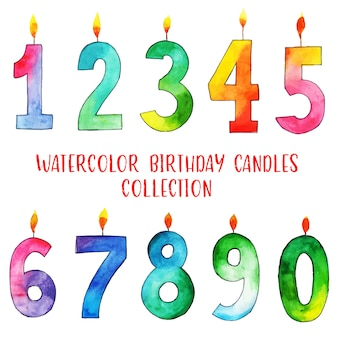 Coleção de velas de feliz aniversário aquarela