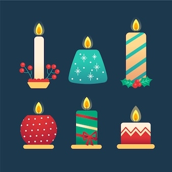 Coleção de velas de natal de design plano