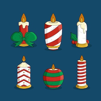 Coleção de velas de natal desenhada à mão