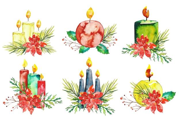 Coleção de velas de natal em aquarela