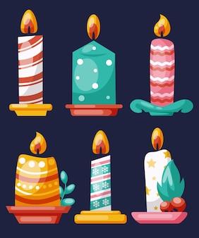 Coleção de velas de natal em design plano