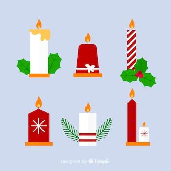 Coleção de velas de natal plana