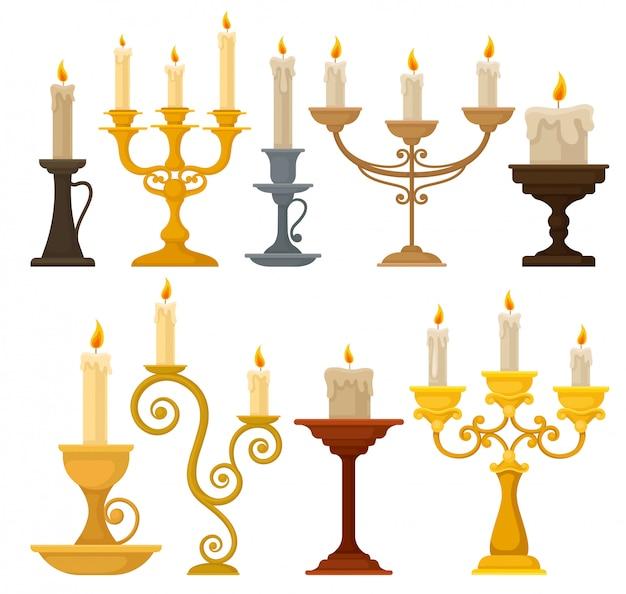 Coleção de velas em castiçais, castiçais vintage e candelabros ilustração sobre um fundo branco