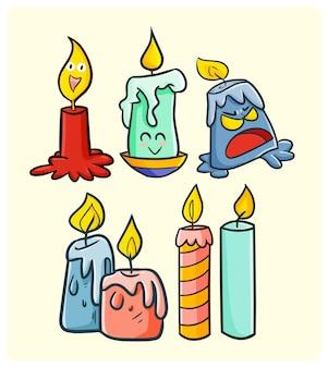 Coleção de velas engraçadas em estilo simples de doodle