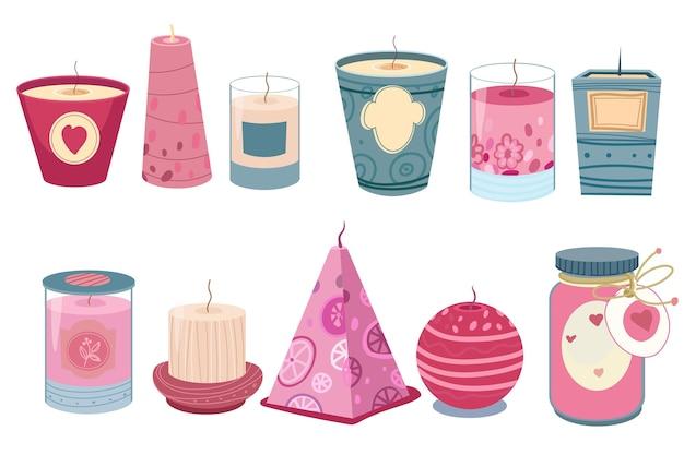 Coleção de velas perfumadas de design plano