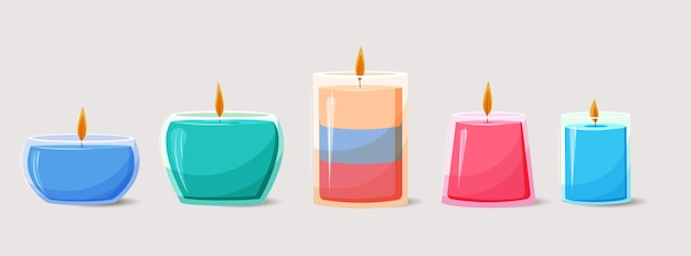 Coleção de velas perfumadas desenhada à mão