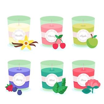 Coleção de velas perfumadas desenhadas à mão plana