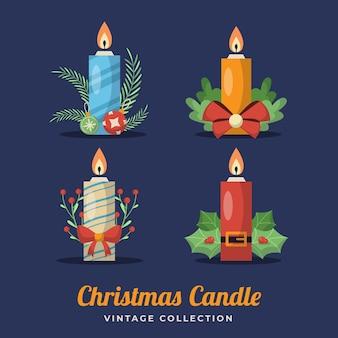 Coleção de velas retrô de natal