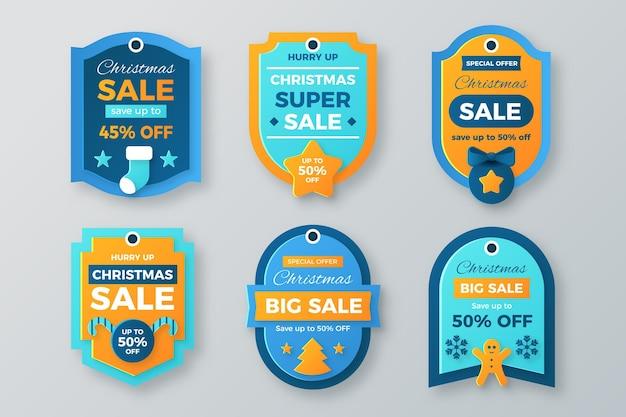 Coleção de venda de etiquetas de natal