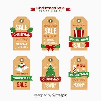 Coleção de venda de natal de rótulo plano